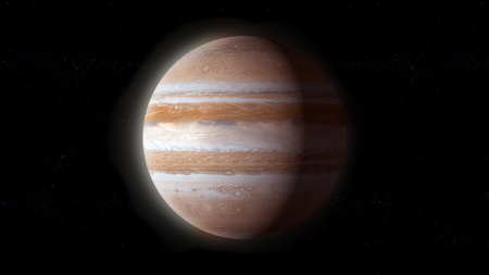 Jupiter, the fifth planet from the Sun and the largest in the Solar System