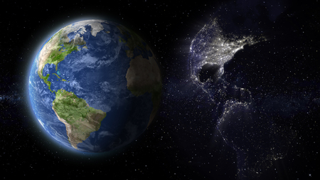 abstract space, day and night earth america view