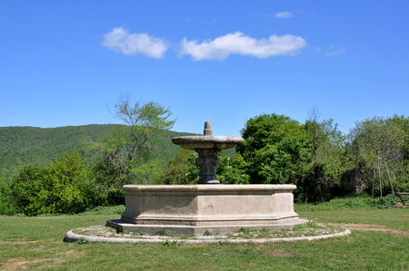 The octagonal fountain in front of the church of San Bonaventura, Canale Monterano,  central Italian region of Lazio Ancient Latium