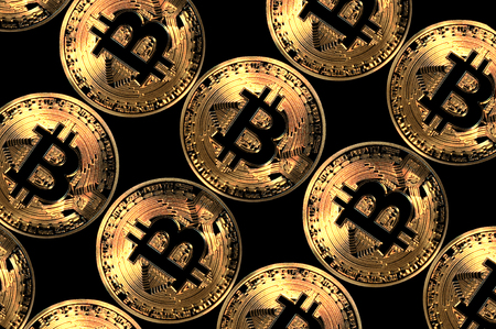 bitcoin coins, virtual currency of blockchain decentralized network technology, illustration Stock Photo