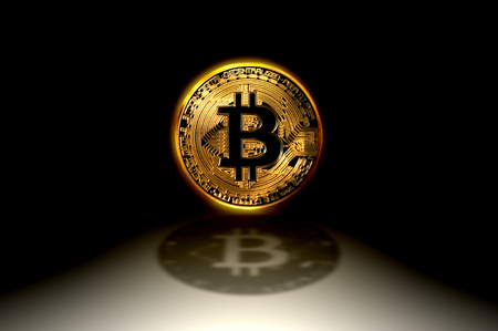Bitcoin gold coin, the worldwide cryptocurrency and digital payment system, 3D illustration