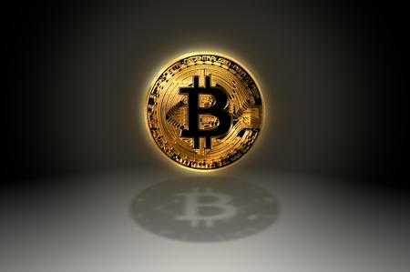Bitcoin gold crypto coin symbol icon with shadow, 3D illustration Фото со стока