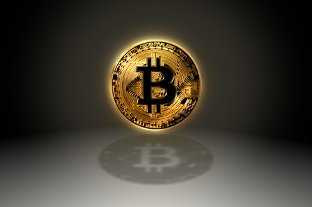 Bitcoin gold crypto coin symbol icon with shadow, 3D illustration Stock Photo