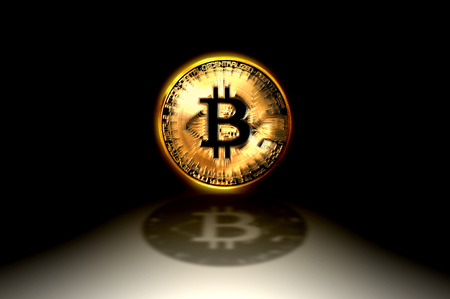 Bitcoin golden coin shining, the first decentralized digital currency, 3D illustration Фото со стока