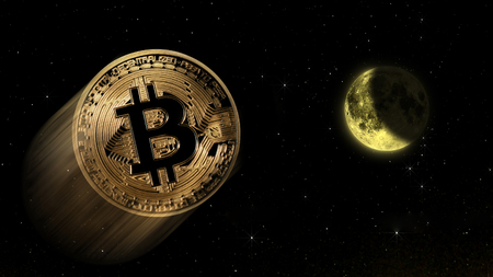 bitcoin to the moon, conceptual trading of an explosive increase value of the digital coin