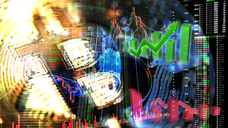 bitcoin trading exchange stock market investment, forex with trend of graph, price and candle stick chart, 3D illustration of stock crypto currency analysis graph, abstract background Stock Photo