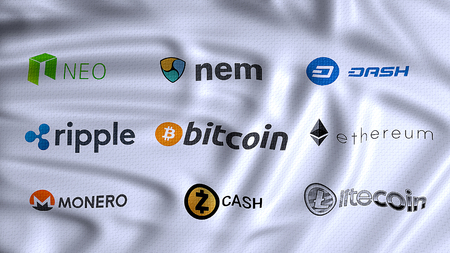cryptocurrencies, digital and alternative currencies, using cryptography to secure the transactions payment on a decentralized worldwide platform, bitcoin, litecoin, ethereum, ripple, monero, neo, nem, dash,  zcash on flag waving