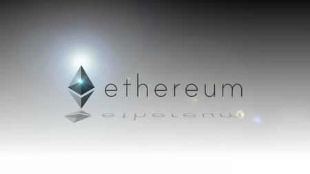 Ethereum cryptocurrency logo. Ethereum is a decentralized platform that runs smart contracts based on blockchain technology, illustration on simple background