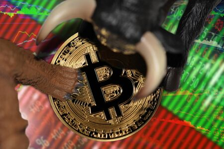 bitcoin financial trading stock market trends conceptual illustration Stock Photo