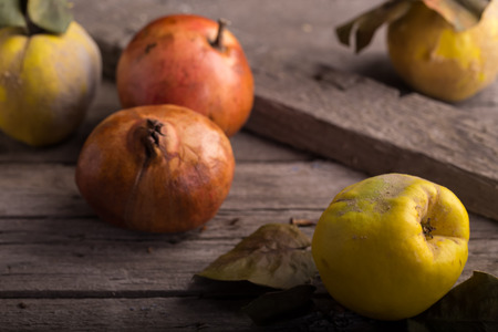quinces: Quinces & Pomegranates On The Apple Box Stock Photo