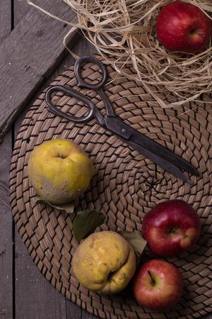 quinces: Apples & Quinces On The Table Matt Stock Photo