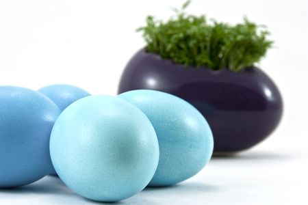 blue easter eggs with fresh cress Stock Photo - 6673788