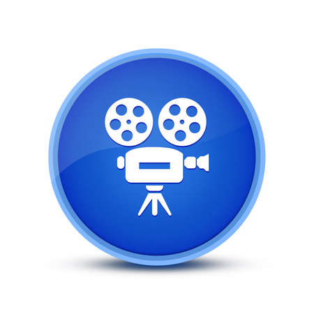 Cinema icon isolated on glassy blue round button abstract illustration