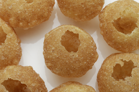 Panipuri or Gol Gappa or Chaat Indian fast food Chaat Spices Fast Food South Asian delicacy PANI PURI. photo