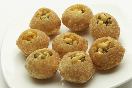 chaat: Panipuri or Gol Gappa or Chaat Indian fast food Chaat Spices Fast Food South Asian delicacy PANI PURI.