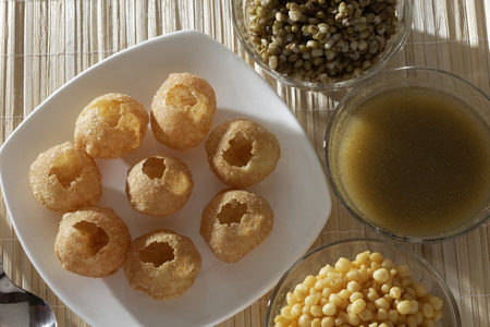 Panipuri or Gol Gappa or Chaat Indian fast food Chaat Spices Fast Food South Asian delicacy PANI PURI photo