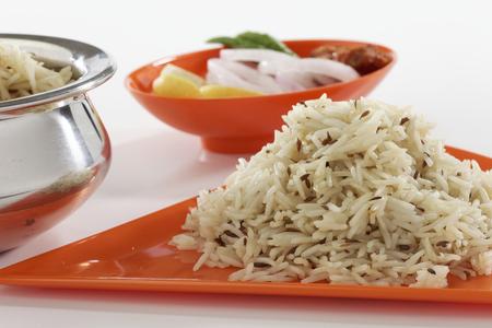 punjabi: Jeera rice  longgrain basmati rice flavoured with fried cumin seeds