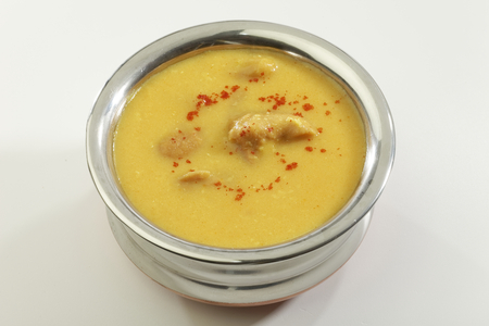 stainless steel pot: Indian Food Kadhi with gatte in stainless steel pot