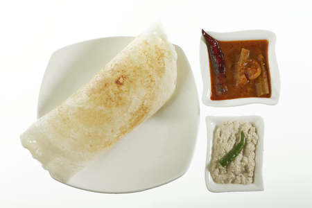 indian cookery: South Indian fast food Dosa With Chutney And Sambhar.