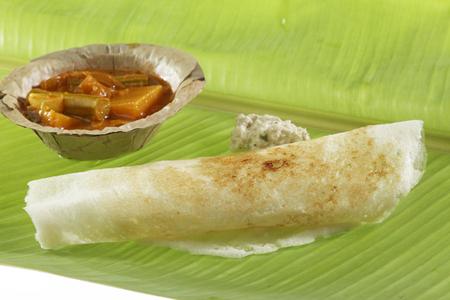 South Indian fast food Masala Dosa With Chutney And Sambhar.