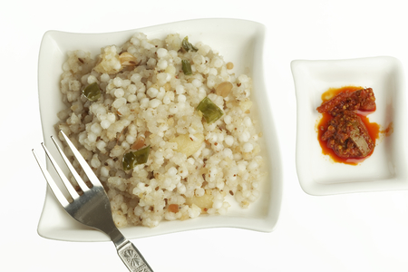 indian cookery: Fast food sago sabudana khichdi with pickles
