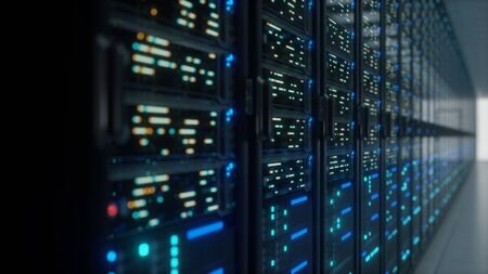 Modern interior server room data center. Connection and cyber network in dark servers. Backup, mining, hosting, mainframe, farm, cloud and computer rack with storage information. Close up, 3D rendering