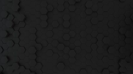 Abstract Honeycomb Background wide angle. Black 3D of hexagon beehive. Great modern trends. Light, minimal, moving hexagonal grid. Loopable