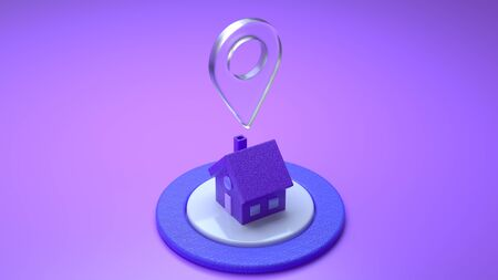 House and location pin on a violet purple dark background. Illustration for graphic design. House location pointer gps map and navigation. Glass light pointer. Stay Home. Quarantine concept. 3D render