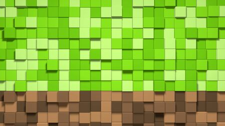 3D Abstract cubes. Video game geometric mosaic waves pattern. Construction of hills landscape using brown and green grass blocks