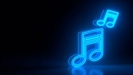 Futuristic glowing blue neon musical notes symbol on black dark background with blurred reflection. Isolated. Music and sound concept. Night bright sign, colorful billboard, light banner. 3d rendering
