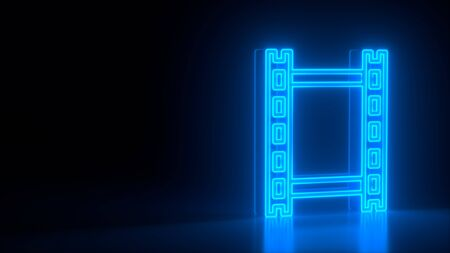 Futuristic glowing blue neon film strip frame symbol on black dark background with blurred reflection. Elements of video set. 3d rendering