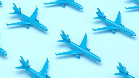 Blue pattern planes in the blue background. Perspective view. Minimal isometric. Aircraft travel concept. Geometric shape in pastel colors. 3d rendering