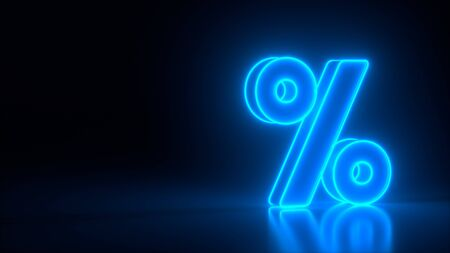 Glowing blue percent symbol on black dark background. Seasonal sales and discounts. Discount, sale sign, neon lights. Business colorful concept. 3d rendering. Archivio Fotografico