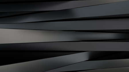 Black metal panels of rectangular shape. Random chaotic position. Abstract composition. 3d rendering