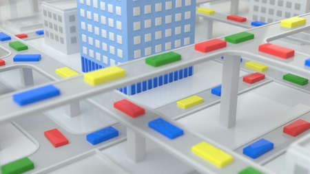 Traffic of multicolored primitive box cars of the abstract city in the daytime. The concept of urban life, traffic jams, metropolis, urbanism. Isometric city view. Shallow depth of field. 3d rendering 免版税图像