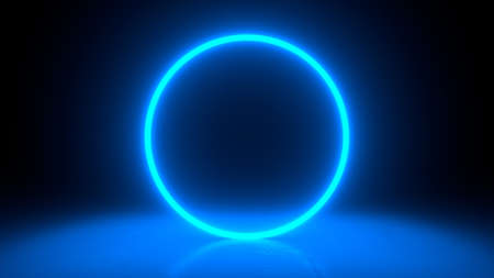 Circle neon blue light in black hall room. Abstract geometric background. Futuristic concept. Glowing in concrete floor room with reflections. 3d rendering