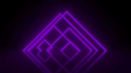 Pyramid consisting of purple abstract neon glowing light stripes on black background. Luminous lines in a dark space. Fantastic space of pyramids and luminous stripes. 3d rendering