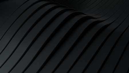 Abstract background with black wavy stripes. Abstract cut paper stripes. Soft light effect. Modern black background template for documents, reports and presentations. Sci-Fi Futuristic. 3d rendering