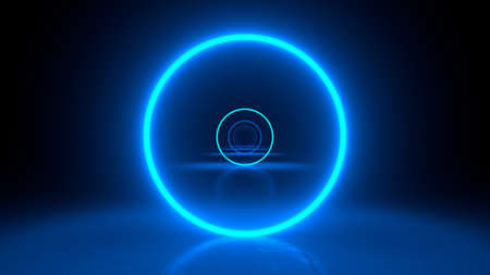 Circle neon blue light in black hall room. Abstract geometric background. Corridor of forms. Futuristic concept. Glowing in concrete floor room with reflections. 3d rendering