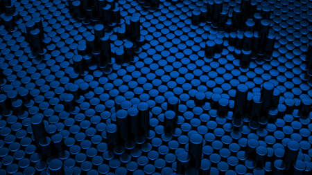 Abstract blue metallic chrome background with cylinders. Ceramic round tiles. Geometry pattern. Random cells. Polygonal glossy surface. Futuristic abstraction. 3d rendering illustration
