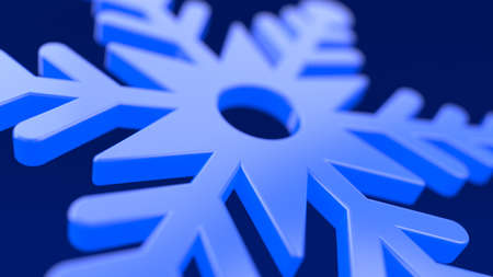 Blue snowflake. Glows symbol on darkness blue black background. New Year or Christmas decoration element. Realistic holiday ornament. Close up, depth of field. 3d rendering illustration