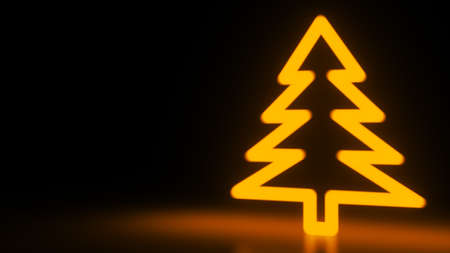 Christmas tree, orange neon glow icon on darkness black background. Abstract winter holiday concept. Blank empty space for your copy or another design. Depth of field. 3D rendering illustration