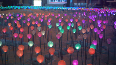 Multicolored glowing glass balls on chrome sticks are stuck in the snow. Fluorescent lights play with light. Colors of rainbow. Flicker field. Festive decoration of parks and city. Depth of field.