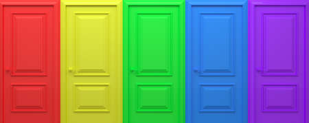 Colorful multi-colored doors. Colors of rainbow. The concept of multiple choice, different paths, identity. Isolated Doors. Set of entrance doors. Group of closed doors. 3d render