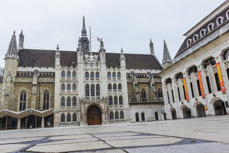 guildhall: The square with St Lawrence Jewry and Guildhall art gallery in London, England. Editorial