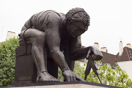 isaac newton: London, England - May 19, 2016: Sculpture of Isaac Newton by Eduardo Paolozzi in the British Library in London, England.