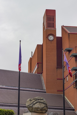 clocktower: London England - May 19 2016: The clocktower of the British Library in London England.