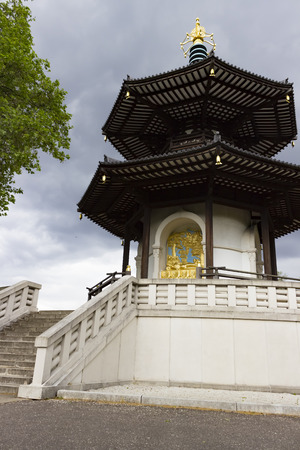 battersea: London, England - May 22, 2016: The Peace Pagoda was a gift to London from the Japanese Buddhist Order Nipponzan Myohoji in 1985.