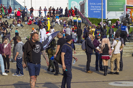 exhibition crowd: London, England - May 27, 2016: The MCM London Comic Con at ExCeL London in England, on the 27th of May 2016. Editorial