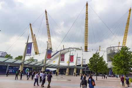 o2: London, England - May 27, 2016: A view of the O2 Arena structure in the North Greenwich Peninsula in London, England.